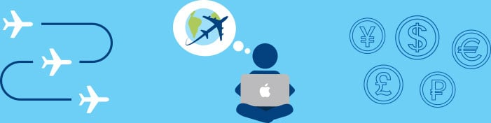 aircraft icons showing in flight with person on laptop in middle dreaming of flying and currency signs